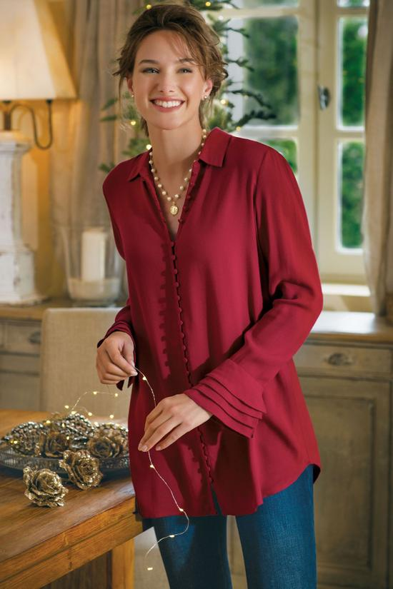tunic - poet blouse red