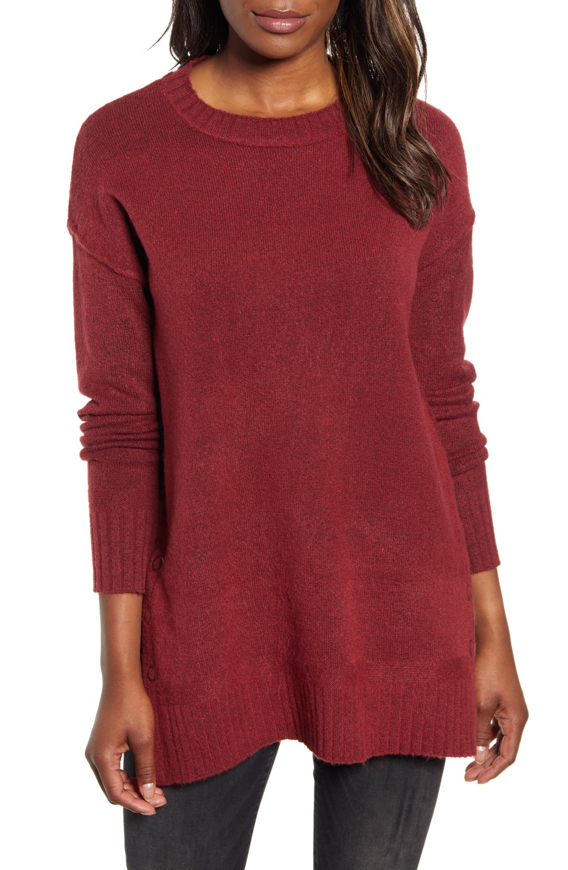 Side Snap Tunic Sweater